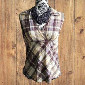 Cato Yellow Brown V neck Plaid Tank Top S Small